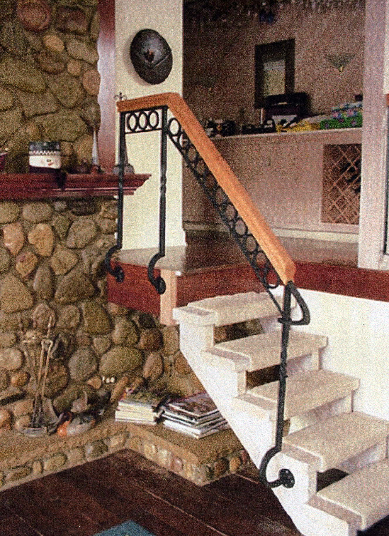 custom spiral stairs railings and fireplace doors and firepits