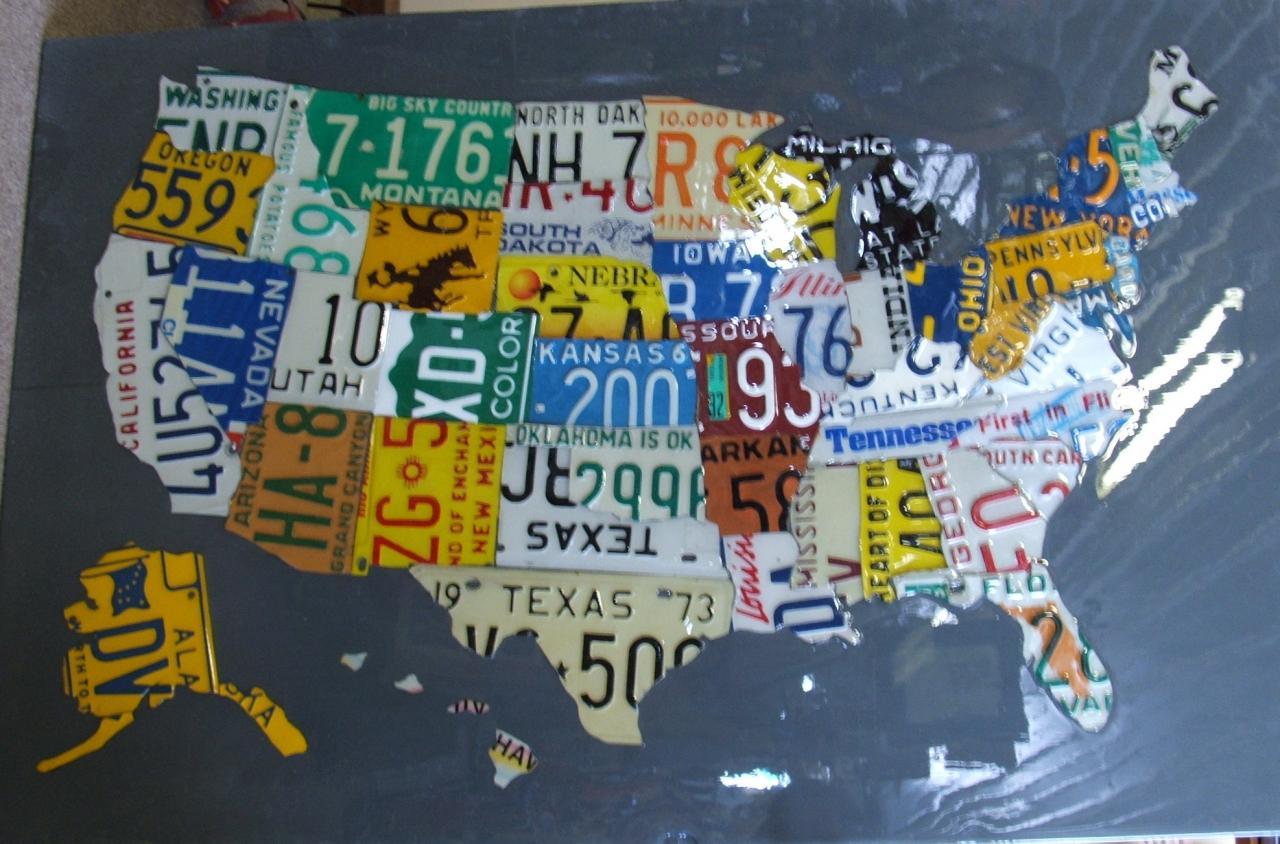 Real Stuff Gallery And Gifts Custom Creations - Us licence plate map